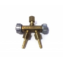 """Rozbočka/rozdvojka hadicová o6mm KYSLÍK G1/4"""" - kovová uzaviratelná"""
